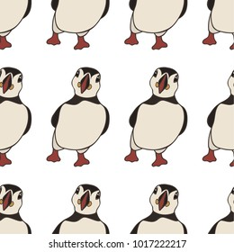 puffin vector seamless pattern