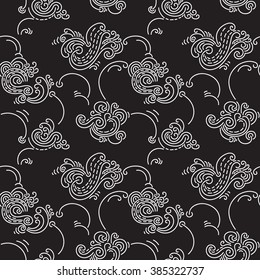 Puffy clouds seamless pattern. Hand drawn seamlessly repeating ornamental wallpaper or textile pattern with cloud motives.