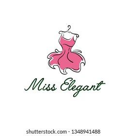 Puffy pink dress on a hanger logo illusstration