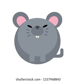 Puffy rat vector illustration in flat color design
