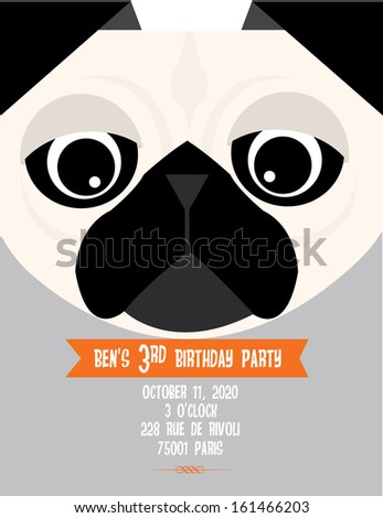 Pug Birthday Invitation Card Template Vectorillustration Stock