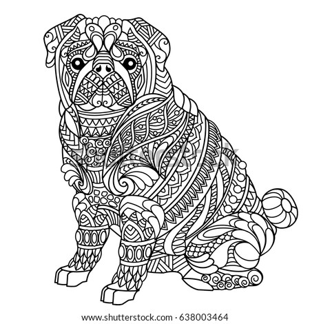Pug Coloring Book Adults Stock Vector Royalty Free 638003464