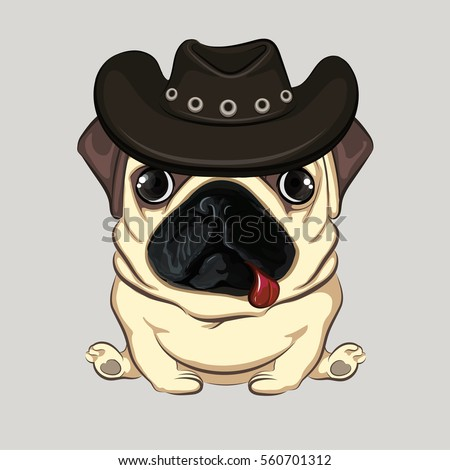 Pug Cowboys Hat Stock Vector (Royalty Free) 560701312 - Shutterstock 8804d3c1030