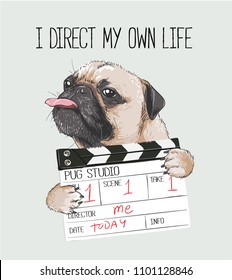 pug with director slate illustration