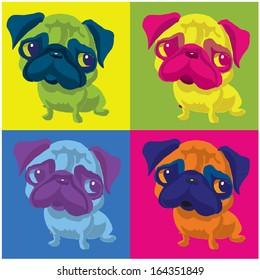 Pug Dog  Andy Warhol style