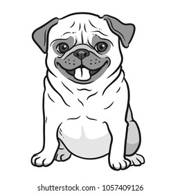 Pug dog black and white hand drawn cartoon portrait. Funny happy smiling pug, sitting and looking forward. Dogs, pets themed design element, icon, logo.