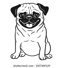 196fdfb5fde0 Pug dog black and white hand drawn cartoon portrait. Funny happy smiling pug,  sitting