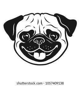 Pug dog black and white hand drawn cartoon portrait. Funny happy smiling pug face. Dogs, pets themed design element, icon, logo.