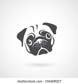 Pug dog face - vector illustration
