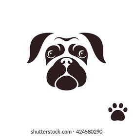 Pug dog. Funny face with paw print. Logo