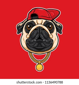 Pug dog head in hiphop style