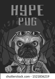pug dog with hype style wear red sweeter, sunglasses, headphone, serious look, for poster, flayer, t shirt, with abstract dark background