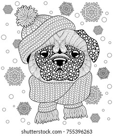 Pug dog with knitted hat and scarf. Tattoo or adult antistress coloring page. Black and white hand drawn doodle for coloring book