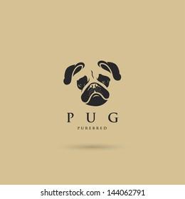 Pug dog label - vector illustration