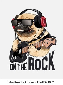 pug dog on headphone playing guitar illustration