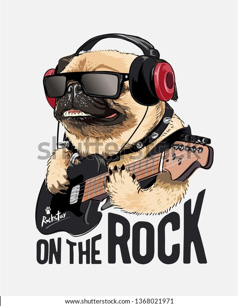 pug dog on headphone playing guitar illustration