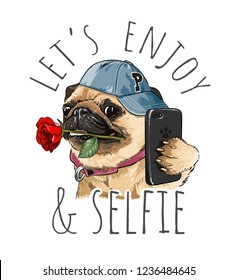 pug dog with rose taking selfie illustration