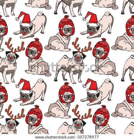 f3d32a46834 Pug Dog Seamless Vector Pattern Background Stock Vector (Royalty ...
