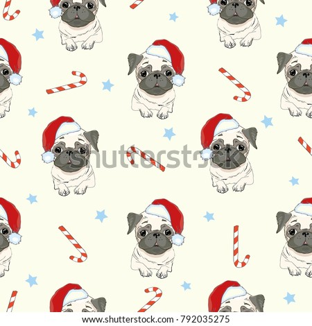 1ef9bcc3f3f Pug Dog Seamless Vector Pattern Stock Vector (Royalty Free ...
