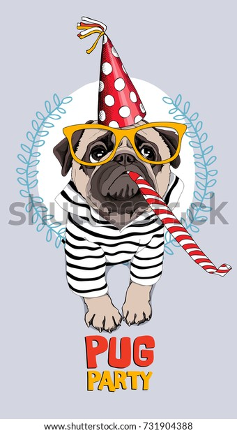 Pug Dog in a striped cardigan, in a red party cap, yellow glasses and with a funny party  whistle blowing. Vector illustration.