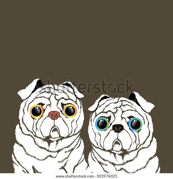 pug dog vector breed illustration purebred animal