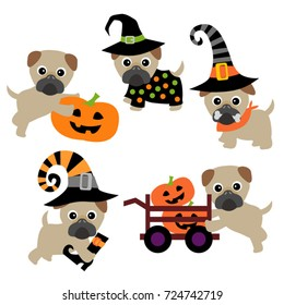 Pug dog vector in Halloween theme.