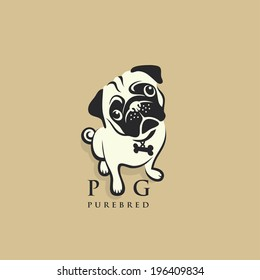 Pug dog - vector illustration