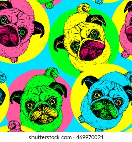 Pug dog - vector seamless pattern. Background with cute puppies in sitting pose, bright colored design