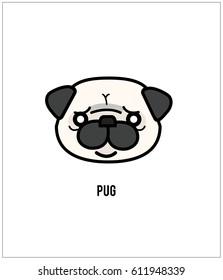 Pug face isolated on white background