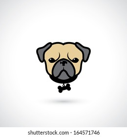 Pug head - vector illustration