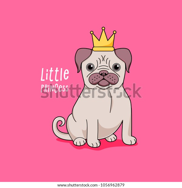 Pug little princess, cute vector dog in crown
