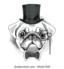 f7cb3007b90 Bulldog Portrait Bowler Hat Tie Monocle Stock Vector (Royalty Free ...