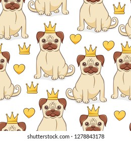Pug princess seamless pattern, vector design concept