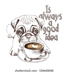 Pug puppy with a cup of coffee. Vector illustration.