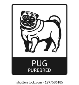 Pug purebred icon. Simple illustration of pug purebred vector icon for web design isolated on white background