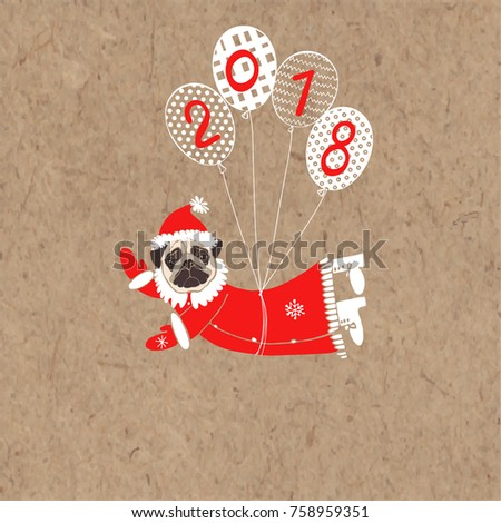 cfbfc349925 Pug in Santa Claus costume flying on balloons. Vector illustration