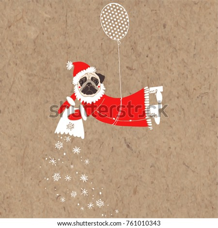 a5e0d4ef821 Pug in Santa Claus costume flying on balloon. Vector illustration