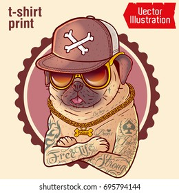 Pug in tattoos. Prints on T-shirts, sweatshirts, cases for mobile phones, souvenirs. Tattoo, images for print. Brutal pug gangster with gold chain. Isolated vector illustration on white background.