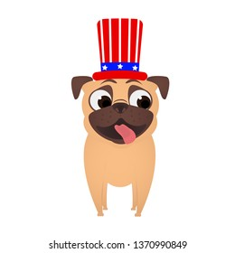 Pug in Uncle Sam hat.  4th of july patriotic independence day of USA. Cute dog in patriotic hat.