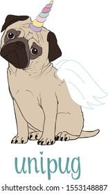 Pug unicorn with horn and wings vector. Unipug funny illustration.