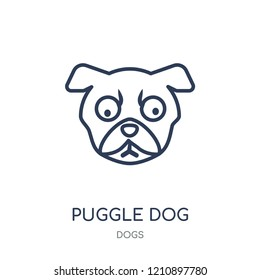 Puggle dog icon. Puggle dog linear symbol design from Dogs collection. Simple outline element vector illustration on white background.
