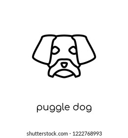Puggle dog icon. Trendy modern flat linear vector Puggle dog icon on white background from thin line dogs collection, editable outline stroke vector illustration