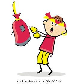 pugilist, boy and boxing bag, funny vector illustration