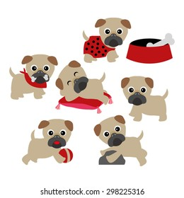 Pugs. Cute dog vector.
