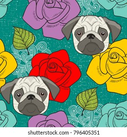 Pugs and flowers seamless wallpaper. Vector background with cute animals and roses. Romantic pattern for dogs lovers.