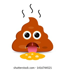 Puke poop vector emoticon, disgust expression sign on white background