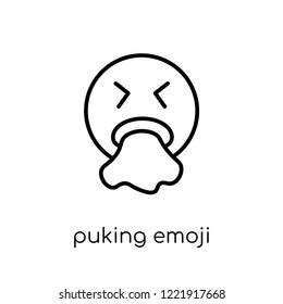 puking emoji icon. Trendy modern flat linear vector puking emoji icon on white background from thin line Emoji collection, outline vector illustration