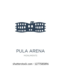 pula arena icon vector on white background, pula arena trendy filled icons from Monuments collection, pula arena vector illustration