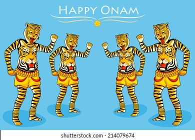 Puli Kali, tiger dance for Onam celebration in vector