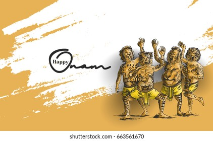 Puli Kali, tiger dance for Onam celebration, Hand Drawn Sketch Vector illustration.